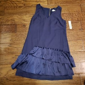 Eliza J Pleated Fit & Flare V-Neck Dress Navy 14